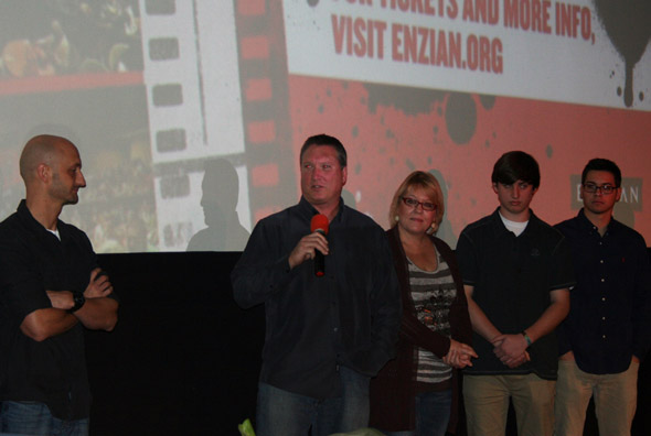 Dale Metz (holding mic) and other filmmakers during the Q&A at the January Film Slam at the Enzian Theater