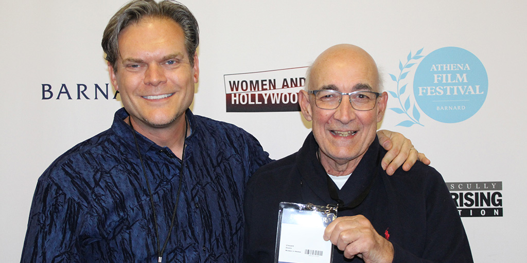 Director Todd Thompson and Producer Vincent Scuro at the 2020 Athena Film Festival screening of Woman In Motion.